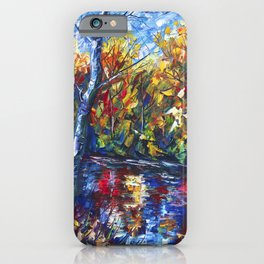 Autumn Forest with a Palette Knife Painting iPhone Case