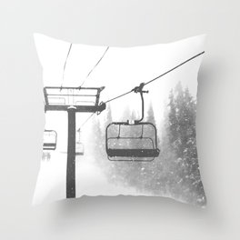Chairlift Abyss // Black and White Chair Lift Ride to the Top Colorado Mountain Artwork Throw Pillow