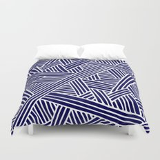 Abstract navy blue & white Lines and Triangles Pattern- Mix and Match with Simplicity of Life Duvet Cover