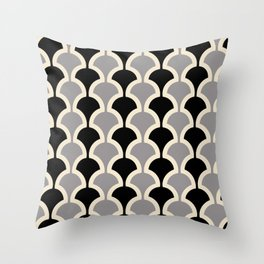 Classic Fan or Scallop Pattern 415 Gray and Black Throw Pillow
