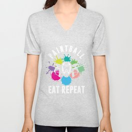 Paintball Eat Repeat Paintball Player Marker Gift Unisex V-Neck