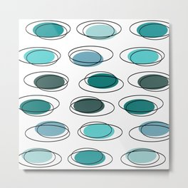Mid Century Modern Ovals Scribbles Turquoise Metal Print