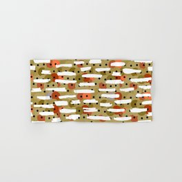 sequins, white horizontal lines, khaki orange white print  Hand & Bath Towel