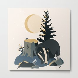 Badger at night in the moonlight with moth Metal Print