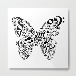 Music butterfly Metal Print