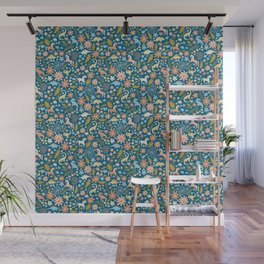 Dinosaurs + Unicorns in Blue + Coral Wall Mural