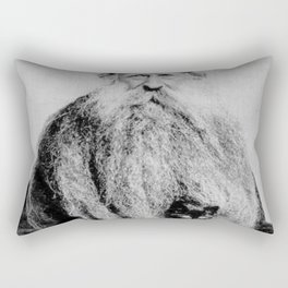 Kitten in the Beard of Old Man black and white photograph Rectangular Pillow