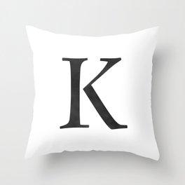 Letter K Initial Monogram Black and White Throw Pillow