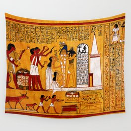 Book of the Dead - The Opening of the Mouth Ceremony (Funerary Ritual) - Papirus of Hunefer - Thebes - Egypt - ca. 1290-1280 BCE - New Kingdom - Dynasty XIX - Ancient Egyptian Text with Spells, Prayers, and Incantations - Amazing Oil painting - Wall Tapestry
