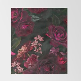 Vintage & Shabby Chic - Night Botanical Flower Roses Garden Throw Blanket