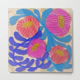 Big Pink and Blue Florals Metal Print