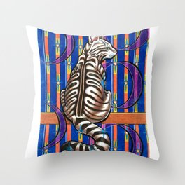 Cat in an abstract room Throw Pillow