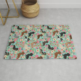 Dachshund floral dog breed pet patterns doxie dachsie gifts must haves Rug