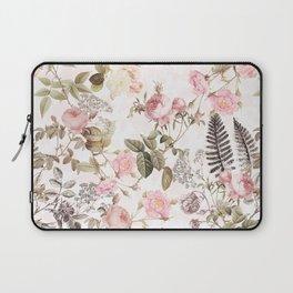 Vintage & Shabby Chic - Blush Roses and Fern Leaf Laptop Sleeve