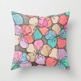 It's Always Summer Somewhere - bright poppy floral Throw Pillow