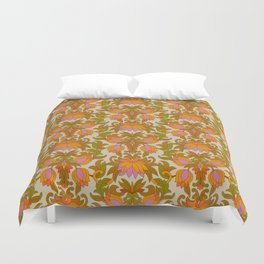 Orange, Pink Flowers and Green Leaves 1960s Retro Vintage Pattern Bettbezug