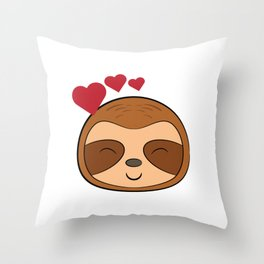 """Cute Kawaii Sloth With A Heart"" tee design for adorable wild forest lovers and fanatic like you! Throw Pillow"