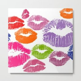Colorful Lipstick Kisses Lip Color Metal Print