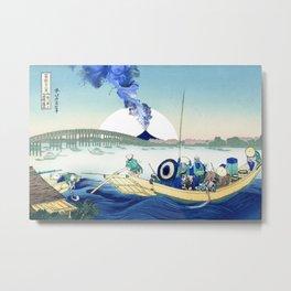 Hokusai View Of Mount Fuji Eruption and Sun Metal Print