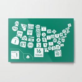United State Highways of America - Interstate Green Metal Print