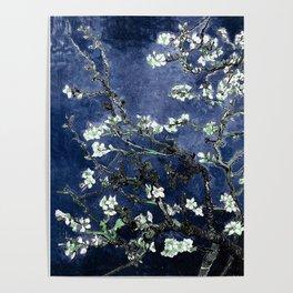 Vincent Van Gogh Almond Blossoms Dark Blue Poster