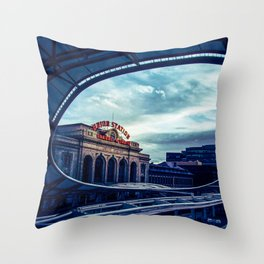 Union Station // Downtown Denver Travel & Train Station Retro Red Sign City Scape Photography Throw Pillow