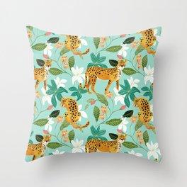 Cheetah Jungle #illustration #pattern Throw Pillow
