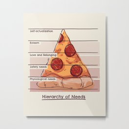 Hierarchy of Needs // Pizza, Psychology, Maslow Pyramid Metal Print
