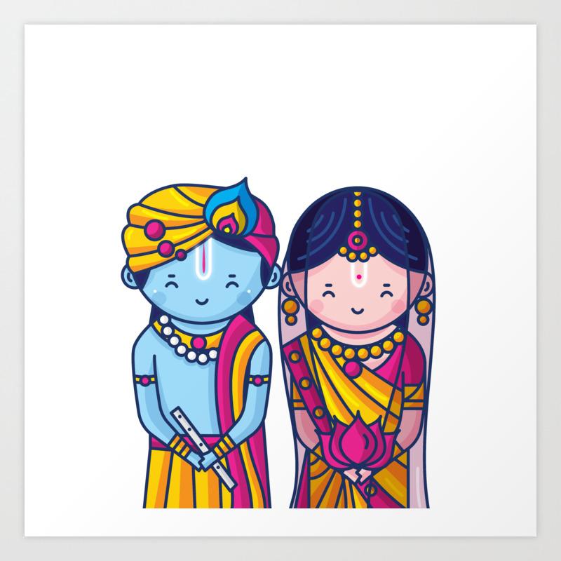cute radha krishna prints