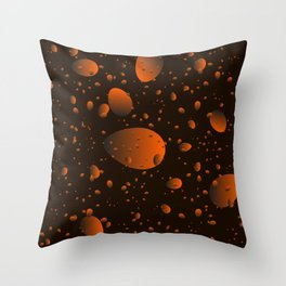 Large brown drops and petals on a dark background in nacre. Throw Pillow