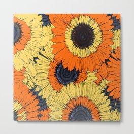 Abstracted Orange Yellow Deco Sunflowers Metal Print
