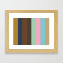 DISTANCE : D(ark Goldenrod) I(ndigo) S(epia) T(aupe) A(quamarine) N(adeshiko Pink) C(yan) E(cru) Framed Art Print