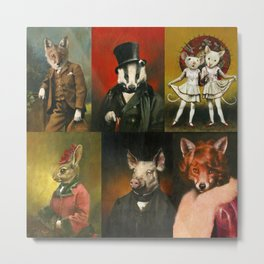 Vintage Animals In Clothes Metal Print