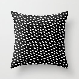 Brush Dot Pattern Black Throw Pillow