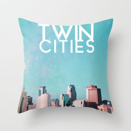 Twin Cities Skylines and Stars-Minneapolis and Saint Paul Minnesota Throw Pillow