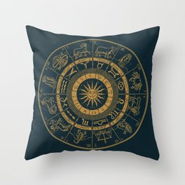 Vintage Zodiac & Astrology Chart | Royal Blue & Gold Throw Pillow