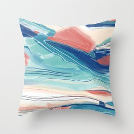 Sea Cliffs Abstract in classic blue aqua menthe and rose Throw Pillow