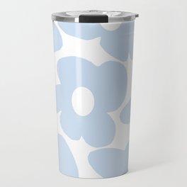 Large Baby Blue Retro Flowers White Background #decor #society6 #buyart Travel Mug