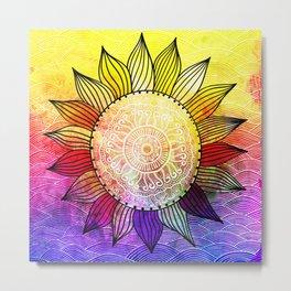 Rainbow Sun Design Metal Print