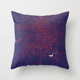 Springfield, MO, USA, Blue, White, City, Map Throw Pillow