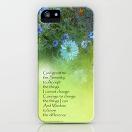 Serenity Prayer Bachelor's Buttons iPhone Case