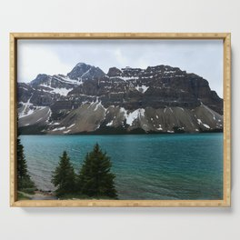 Bow Lake With Crowfoot Mountains Serving Tray