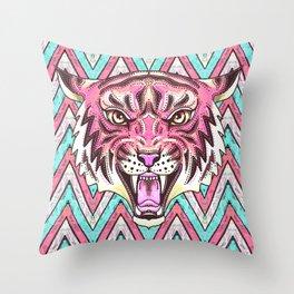 Pink Tiger Chevron Throw Pillow