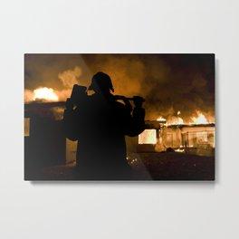 Firefighter-Burning House Metal Print