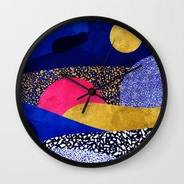 Terrazzo galaxy blue night yellow gold pink Wall Clock