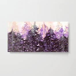 NORTHWEST VIBES Colorful Watercolor Painting Forest Trees Violet Green Modern Nature Art West Coast  Metal Print