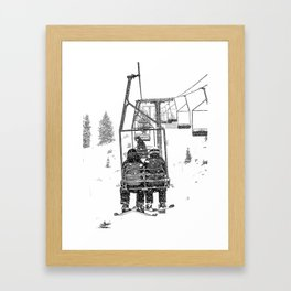 Snow Lift // Ski Chair Lift Colorado Mountains Black and White Snowboarding Vibes Photography Gerahmter Kunstdruck