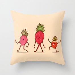 Strawberry Folk Throw Pillow