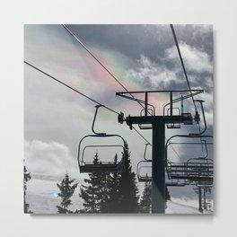 Ski Lift Rainbow Sky \\ The Mountain Sun Rays \\ Spring Skiing Colorado Winter Snow Sports Metal Print