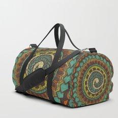 Retro Colorful 60s 70s Polynesian Mandala Tattoo - Vintage Orange Blue Duffle Bag